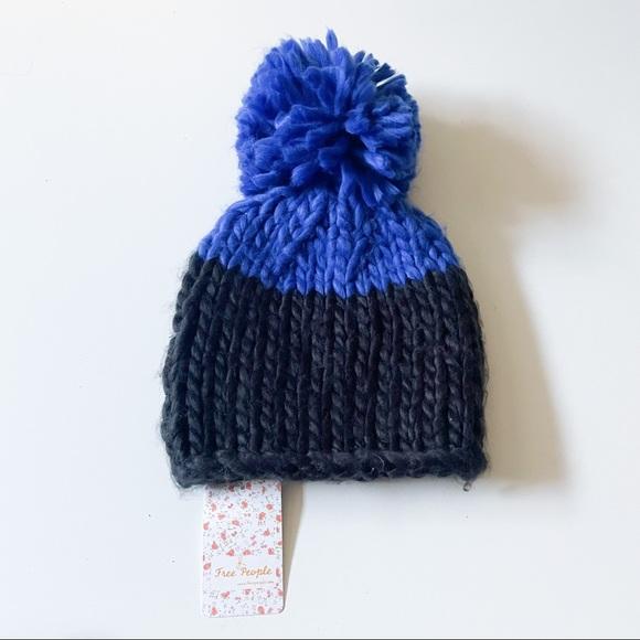 Free People Blue Black Pom Pom Beanie Hat